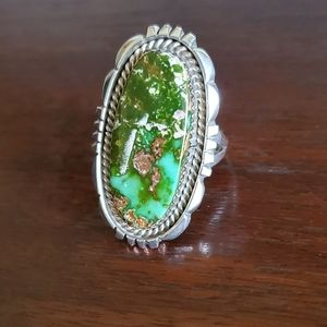 Larry Sandoval Navajo Royston Turquoise 925 Ring
